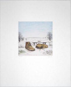 Hauck Farbradierungen Schuhe im Winter