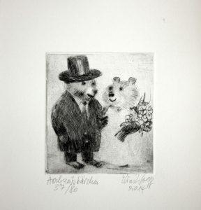 Elias-Wolff-Radierung-Hochzeitsbärchen